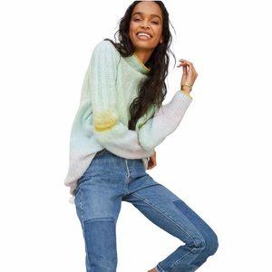 Anthro Perri Ombré Rainbow Tunic Sweater Size 3X